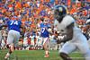Florida Gator QB Skyler Mornhinweg throws downfield in the fourth quarter.  Florida Gators vs Georgia Southern Eagles.  Gainesville, FL.  November 23, 2013.