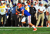 Florida Gator WR Trey Burton receives the kickoff and rushes upfield.  Florida Gators vs Georgia Southern Eagles.  Gainesville, FL.  November 23, 2013.