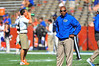 Florida Gator wide receivers coach Joker Phillips watches his wide receivers during warm up drills.  Florida Gators vs Georgia Southern Eagles.  Gainesville, FL.  November 23, 2013.