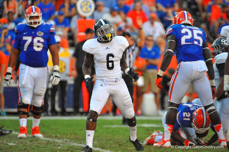 Georgia Southern CB Darius Safford celebrates after stopping the Florida offense.  Florida Gators vs Georgia Southern Eagles.  Gainesville, FL.  November 23, 2013.