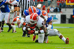 Florida defenders Jabari Gorman (21) and Cody Riggs (31) tackle Georgia TE Jay Rome (77).  Florida Gators vs Georgia Bulldogs.  EverBank Field.  November 2, 2013.