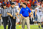 Florida head coach Will Muschamp yelling at a referree following what he thought was a bad call.  Florida Gators vs Georgia Bulldogs.  EverBank Field.  November 2, 2013.