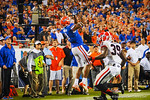 Florida WR Quinton Dunbar jumps to make the catch and extend the Gator drive but comes down out of bounds.  Florida Gators vs Georgia Bulldogs.  EverBank Field.  November 2, 2013.