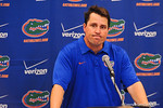Florida head coach Will Muschamp talking to the press at the post game news conference.  Florida Gators vs Georgia Bulldogs.  EverBank Field.  November 2, 2013.