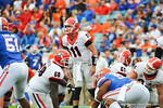 Georgia quarterback Aaron Murray calling out the play during the first quarter.  Florida Gators vs Georgia Bulldogs.  EverBank Field.  November 2, 2013.