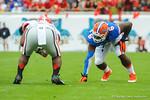 Florida DL Dante Fowler is set and ready for the snap.  Florida Gators vs Georgia Bulldogs.  EverBank Field.  November 2, 2013.