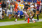 Florida QB Tyler Murphy scrambles to the right side and dives into the endzone for a touchdown in the fourth quarter.  Florida Gators vs Georgia Bulldogs.  EverBank Field.  November 2, 2013.