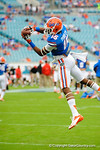 Florida Gator defensive back Loucheiz Purifoy leaps into the air for the catch during a catching drill.  Florida Gators vs Georgia Bulldogs.  EverBank Field.  November 2, 2013.