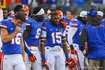 Dante Fowler (6) and Loucheiz Purifoy (15).  Florida Gators vs Georgia Bulldogs.  EverBank Field.  November 2, 2013.