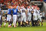 Florida and Georgia players start fighting at the end of the fourth quarter.  Florida Gators vs Georgia Bulldogs.  EverBank Field.  November 2, 2013.