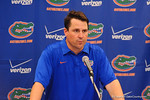 Florida head coach Will Muschamp talking to the press at the post game news conference.  Florida Gators vs Georgia Bulldogs.  EverBank Field.  November 2, 2013.