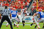 Georgia QB Aaron Murray throws downfield.  Florida Gators vs Georgia Bulldogs.  EverBank Field.  November 2, 2013.