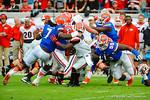 The Gator defense converge for the tackle.  Florida Gators vs Georgia Bulldogs.  EverBank Field.  November 2, 2013.