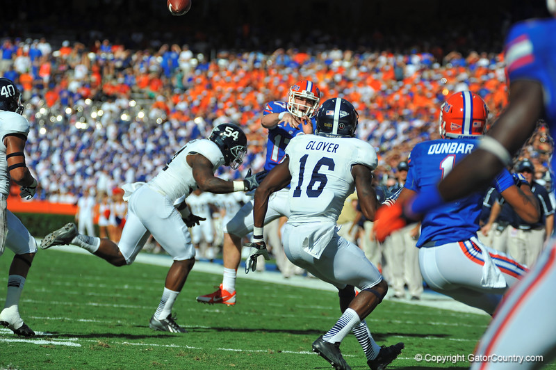Florida Gator quarterback Skyler Mornhinweg throws to the endzone in the first quarter against Georgia Southern.  Florida Gators vs Georgia Southern Eagles.  November 23, 2013.  Gainesville, FL.