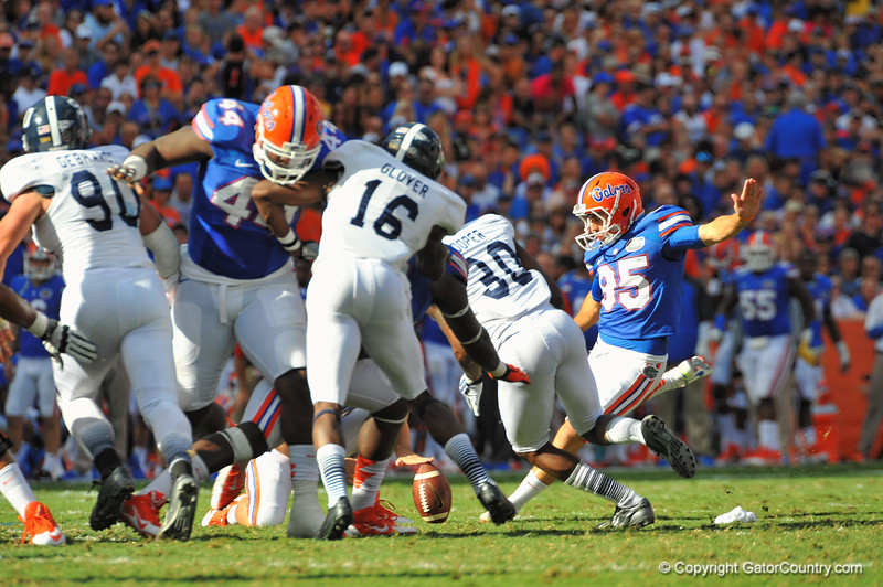 Florida Gator kicker Frankie Velez attempts the field goal but it is blocked by Georgia Southern.  Florida Gators vs Georgia Southern Eagles.  November 23, 2013.  Gainesville, FL.