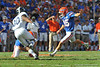 Florida Gator kicker Frankie Velez kicks in the field goal to put the Gators up 3-0 in the first quarter against Georgia Southern.  Florida Gators vs Georgia Southern Eagles.  November 23, 2013.  Gainesville, FL.