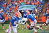 Florida Gator QB Skyler Mornhinqweg throws downfield.  Florida Gators vs Georgia Southern Eagles.  November 23, 2013.  Gainesville, FL.