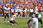 Vanderbilt Commodore kicker Carey Spear lines up his field goal attempt to put the Commodores up 3-0 in the first quarter.  Florida Gators vs Vanderbilt Commodores.  Gainesville, FL.  November 9, 2013.