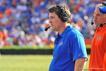 Florida Gator head coach Will Muschamp on the sideline during the fourth quarter.  Florida Gators vs Vanderbilt Commodores.  Gainesville, FL.  November 9, 2013.