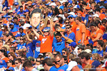 There is a big head Tim Tebow sighting in the bleachers.  Florida Gators vs Vanderbilt Commodores.  Gainesville, FL.  November 9, 2013.