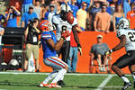 Florida Gator DB receives the punt return.  Florida Gators vs Vanderbilt Commodores.  Gainesville, FL.  November 9, 2013.