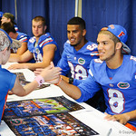 WR Trey Burton and a fan at the Gator Fan Day.  Stephen C. O'Connell Center.  August 17th, 2013