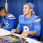 WR Trey Burton smiles as he greets the fans at the Gator Fan Day.  Stephen C. O'Connell Center.  August 17th, 2013