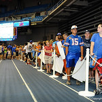 Fans wait in line to meet the gator football players at the Gator Fan Day.  Stephen C. O'Connell Center.  August 17th, 2013