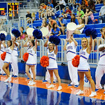 The gator cheerleaders cheer on the womens volleyball team during Gator Fan Day.  Stephen C. O'Connell Center.  August 17th, 2013