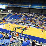 The florida gator volleyball team warms up during the Gator Fan Day.  Stephen C. O'Connell Center.  August 17th, 2013