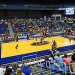 The Florida Gator volleyball team prepares to start their exhibition game during the Gator Fan Day.  Stephen C. O'Connell Center.  August 17th, 2013