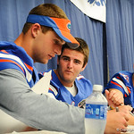 The Gator QBs sign autographs during the Gator Fan Day.  Stephen C. O'Connell Center.  August 17th, 2013