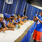 DB Jeremy Brown takes a photo of his fellow gator team mates during Gator Fan Day.  Stephen C. O'Connell Center.  August 17th, 2013