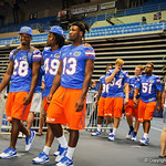 The gator football players walk into the Stephen C. O'Connell Center for Gator Fan Day.  Stephen C. O'Connell Center.  August 17th, 2013