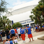 Florida Gator fans patiently wait outside the Stephen C. O'Connell Center for Gator Fan Day to start on Saturday 8-17-13.