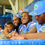 Gator football players sign autographs for the gator fans.  Stephen C. O'Connell Center.  August 17th, 2013