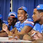 DL Jonathan Bullard smiles as he greets the fans during the Gator Fan Day.  Stephen C. O'Connell Center.  August 17th, 2013.