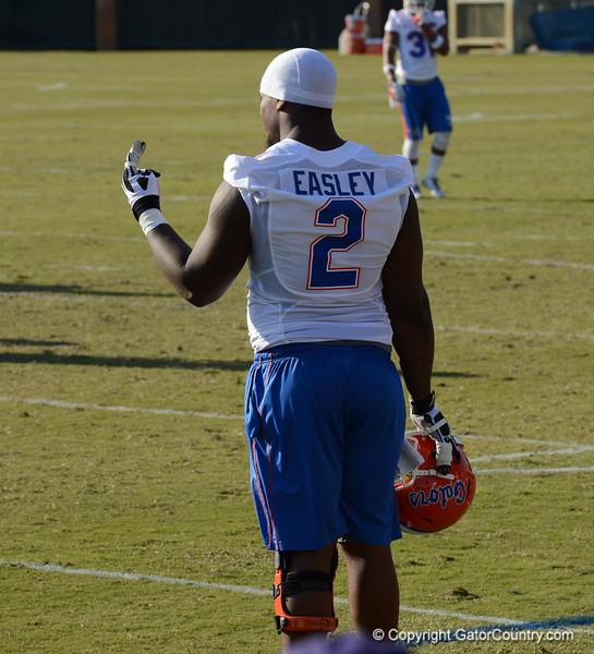 Easley (2) takes break from drills