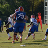 O-Line and D-Line compete in passing drill