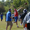 Mornhinweg (17) passes deep as Muschamp watches