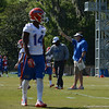 Watkins (14) prepares for D-back drills