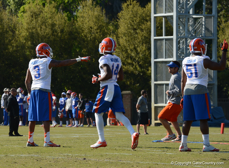 Morrison (3), Watkins (14) and Taylor (51) in pass coverage drill