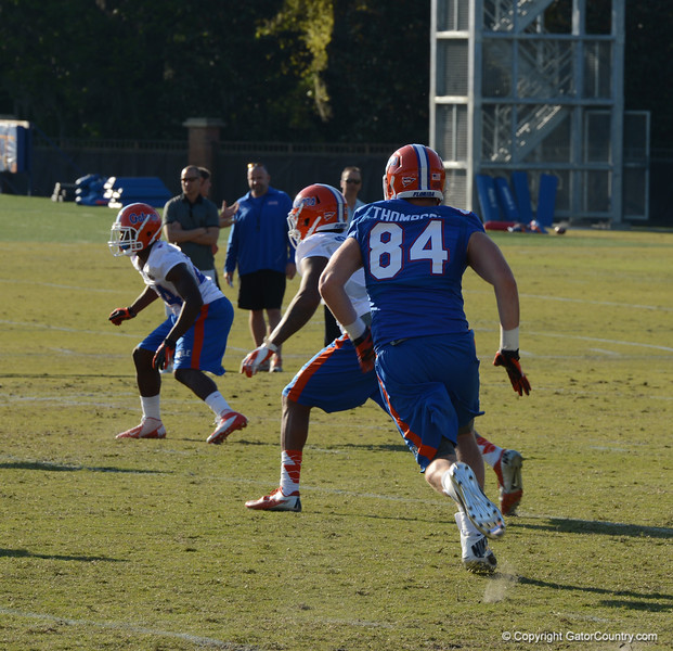 Thompson (84) runs pass route across middle