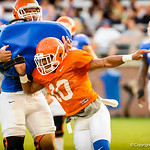 DB Valdez Showers  during the gators open practice.