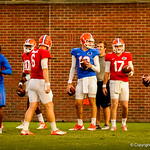 Chirs Leak and the gator QBs during Thursdays open Gator practice.