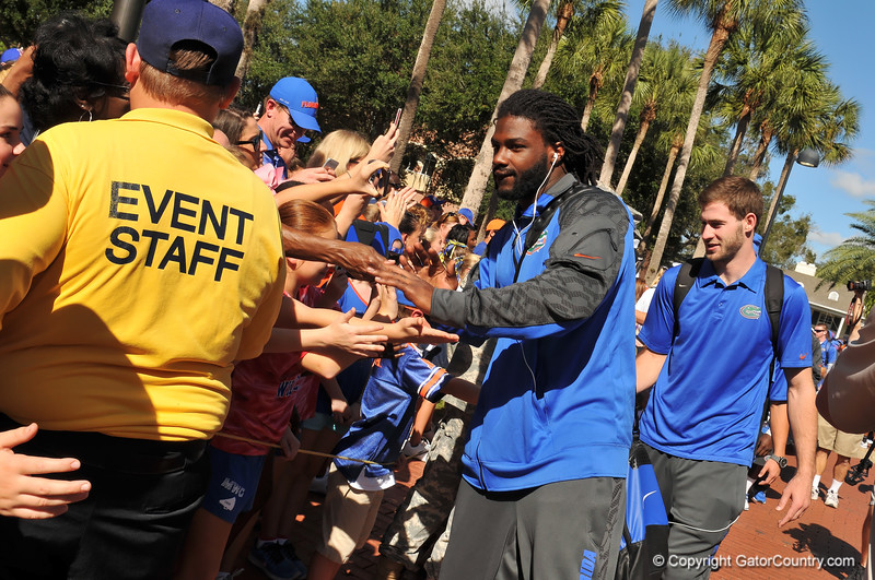 Florida Gator LB Ronald Powell shakes the hands of fans as he walks into the stadium for the Georgia Southern game.  Florida Gators vs Georgia Southern Eagles.  Gainesville, FL.  November 23, 2013.