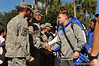 Florida Gator kicker Austin Hardin shakes hands with the military servicemen who were saluted for their service at the Gator walk and game.  Florida Gators vs Georgia Southern Eagles.  Gainesville, FL.  November 23, 2013.