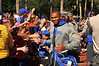 Florida Gator RB Kelvin Taylorl shakes the hands of fans as he walks into the stadium for the Georgia Southern game.  Florida Gators vs Georgia Southern Eagles.  Gainesville, FL.  November 23, 2013.