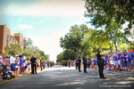 Fans line the streets to welcome the gator football players.  Gators vs Tennessee Volunteers.  September 21, 2013.