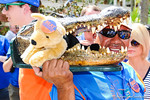 A gator fan shows off his Beat Tennessee gator head.  Gators vs Tennessee Volunteers.  September 21, 2013.